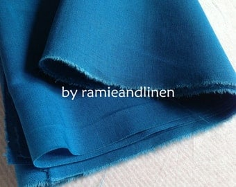 """ramie cotton blend fabric, solid color, teal blue, half yard by 54"""" wide"""