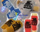 Doctor Who Fingerless Gloves choose your DALEK color blue, red, gold, silver EXTERMINATE