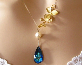 Romantic Necklace: Gold Orchid Necklace, Pearl, Blue Swarovski Crystal Bridal Necklace, Romantic Jewelry, Peacock Wedding Necklace Gold Fill