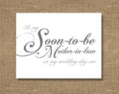To My Soon-to-Be Mother-in-Law On My Wedding Day Eve Card