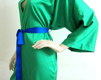 Kimono Robe Handmade to order Gift for Her Loungwear Valentine Day Anniversary Wedding Bridal Shower Nightgownesmaid Robes Green robe Royal