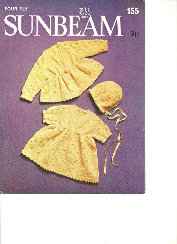 Knitting pattern Sunbeam 155 baby 18 to 20 inch. by Allcraftsles
