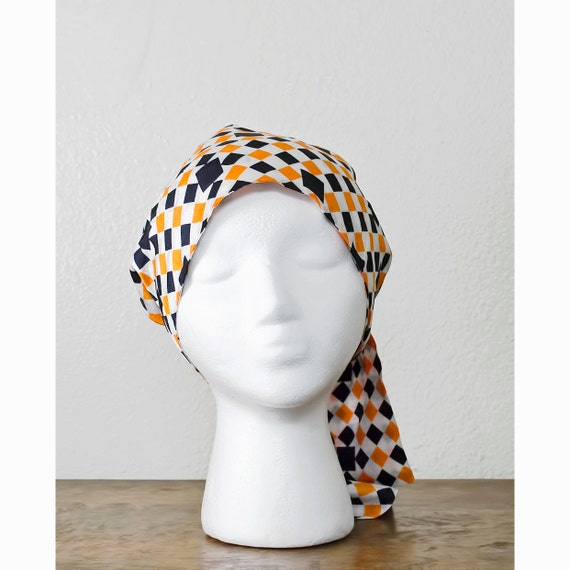 20% COUPON SALE / Vintage 60s Geometric Scarf / 1960s Head Scarf /  Extra Long / Orange White and Black