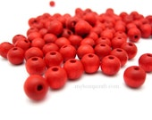 Wood Beads, Small Red Round Wooden Beads 5x6mm - 100pc
