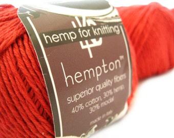Hemp Cotton Yarn, Dark Coral DK Weight 130yd Hemp/Cotton/Modal Blend