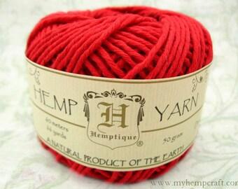 Cotton Hemp Yarn, Red, 66yd Natural DK Weight Hemp Cotton Blend Yarn