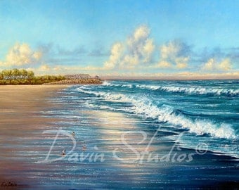 Fort Fisher, NC, Fort Fisher Beach Seascape of waves crashing at sunset signed  art print near Wilmington, NC by Eleanor Davin