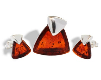 Baltic Amber Set Cognac Studs and Pendant 925 silver