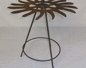 Handcrafted Repurposed Farm Implement Rotary Hoe Plant Stand Patio Table Metal Flower Sculpture. One of a Kind. OAK