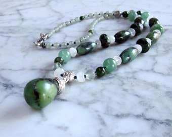 Love, Luck, Wishes and Happiness Natural Green Stone OOAK Heart Chakra Energy Healing Necklace