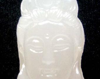 Afghanistan Jade Tibet Kwan-Yin Buddha Head Amulet Pendant 27mm x 15mm  T0386
