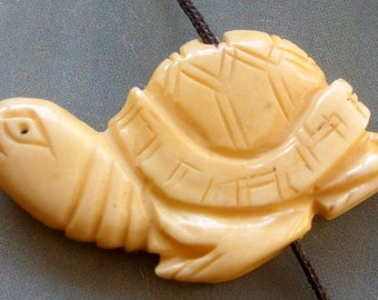 Ox Bone Carved Longevity Turtle Tortoise Pendant Bead 40mm x 22mm  T1545