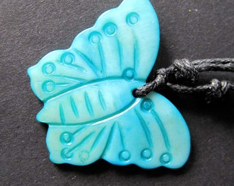 Blue Luster Sea Shell Butterfly Pendant Necklace 33mm x 25mm  T2260