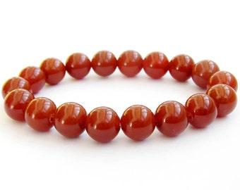 10mm Wine Red Agate Charm Gemstone Beaded Prayer Beads Bracelet Hand String  T0662