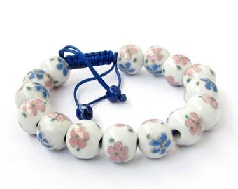 12mm Handmade Flower Chinese Porcelain Ceramic Beads Adjustable Bracelet  T2516