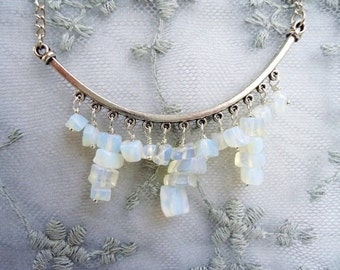 Opalescent Moonstone Chip & Silver Half Moon Bracket Boho Chic Dangly Silver Bib Necklace