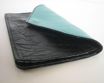 Teal & Black Floral Leather Wallet