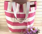 Waterproof  Striped Canvas Tote Bag Beach Bag Nautical Striped Diaper Bag Quilted Interior Shoulder Handbag 4 Pockets Eco Friendly Handbag