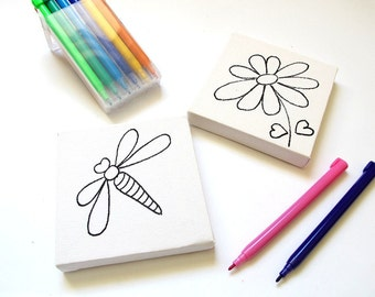 DIY kids mini canvas coloring kit- flower and dragonfly, children canvas kit project, kids DIY craft activity, children decor
