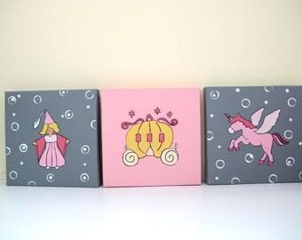 Kids wall art pink and gray princess, unicorn and carriage canvas paintings for nursryq girls room - nursery art decor, children decor