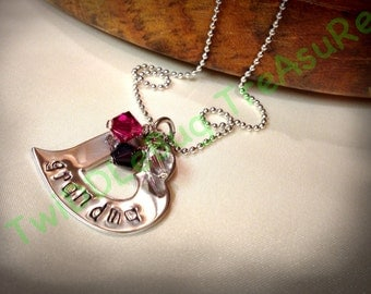 Heart Necklace - Hand Stamped - Grandma - Mother - Auntie - Birthstone Necklace