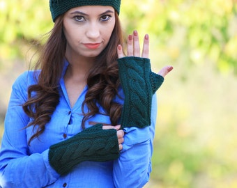 Women fingerless gloves, Green fingerless gloves, Knit mittens women, Green gloves fingerless, Cable knit gloves