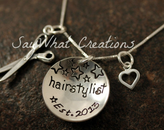 Custom Hand Stamped Sterling Silver Hairstylist Charm Necklace Personlized for Hair Stylist