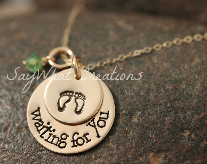 Custom Hand Stamped 2 Disk Stacked Necklace for pregnant, expecting, maternity, mothers IN GOLD