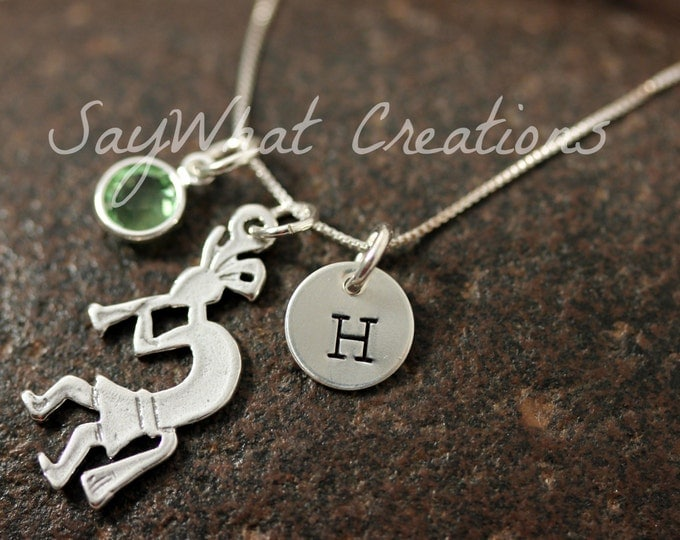 Sterling Silver Kokopelli Charm Necklace with Mini Hand Stamped Initial and Birthstone