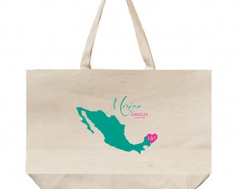 10 LARGE  TOTE -20x16x4 Wedding Welcome Bags-Beach Tote - Destination Wedding -Mexico