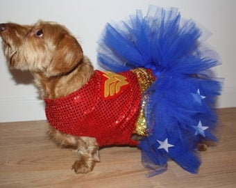 Dog / Dachshund Superhero Wonder Woman Costume / Tutu Dress. Comes in Toy, Small & Medium Sizes