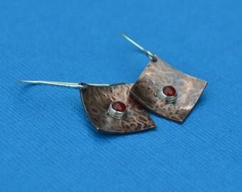 Mixed Metal Copper, Sterling Silver, Fine Silver and Carnelian Diamond Shaped Earrings