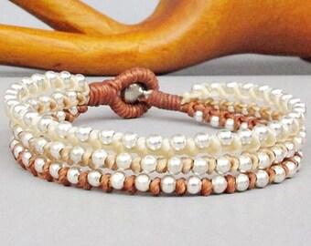 Friendship Multi Line Ivory Sandybrown Walnut Wax Cord with Silver Colour Bead Bracelet B157