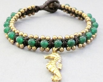 Square Knot Bracelet with Jade and Seahorse Charm