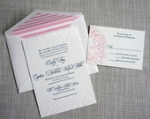 Letterpress Peony Wedding Invitation