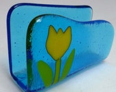 Yellow Tulip on Turquoise Fused Glass Business Card Holder MTO
