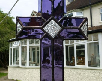 Stained Glass Cross Purple and Transparent light catcher MTO