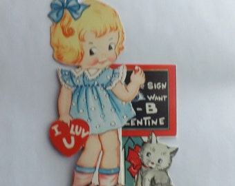 Vintage Valentine's Day Card die cut fold out little girl kitten and chalkboard math