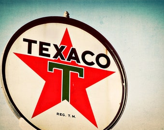Texaco Gas Station Sign - Graphic Sign Art - Route 66 Wall Art - Retro Home Decor - Office Art - Gas Station - Fine Art Photography