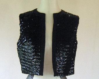 Black Sequin Leslie Fay Vest Shirt Top