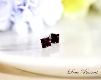 Black Friday Swarovski Crystal Square cartilage Stud Earrings - Color Amethyst