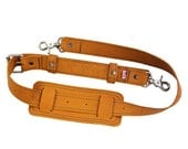 Leather Shoulder Strap  - Hand made in the USA, Thick Full Grain Leather - Bourbon