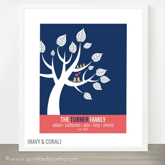 Love Birds in a Tree - Wedding, Anniversary, Engagement Gift or Family Gift - Family Tree - Fully Customizable 8x10 Print