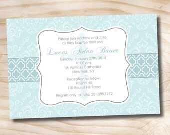 BAPTISM DAMASK Custom Baptism Invitation / Christening Invitation / Communion Invitation - Printable digital file or printed invitations