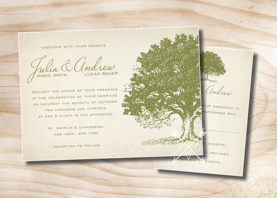 VINTAGE OAK TREE Rustic Wedding Invitation and Response Card ...
