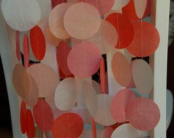 Tissue Paper Garland, Party Garland, Birthday Garland, Wedding Garland, Photo Backdrop - Peach and Pinks