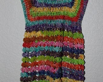 Beautiful Multi-Color Baby Doll Style Crochet Shirt Size 4-6