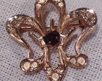 Vintage Alice Caviness Fleur de Lys Brooch Mardi Gras New Orleans