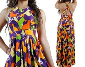 Vintage 70s Dress - Maxi Dress - Backless Disco Dress - Dancing Women Print - Extra Small - Small