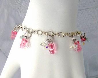 LED and Crystal Cluster Bracelet — Pink